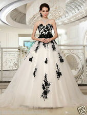 New Tulle Lace Wedding Gown Bridal Long Dress White/Ivory Black Custom Size 6-18
