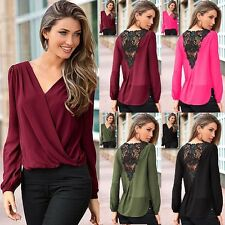 Sexy Women Ladies Lace Crochet Hollow Out V Neck Casual Top Shirt Blouse BLLT
