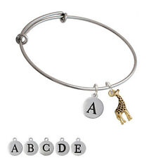 Gold Tone Brown Giraffe Silver Plated Bangle Bracelet, Select Initial