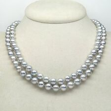 """HUGE AAA 9-10MM PERFECT ROUND SOUTH SEA GENUINE GRAY PEARL NECKLACE 35""""14K GOLD"""