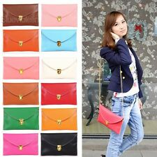 New Fashion Women's  Chain Envelope Purse Clutch Synthetic Leather BLLT