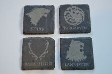 Game of Thrones Houses Wood Coasters, Slate Engraved Coasters, GOT Coasters