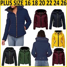 Womens Padded Bubble Fur Collar Quilted Ladies Thick Warm Coat Jacket Plus Size