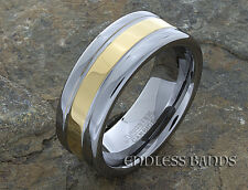 Gold Plated Tungsten Wedding Ring, Wedding Band, Polished, Laser Engraving, 8mm