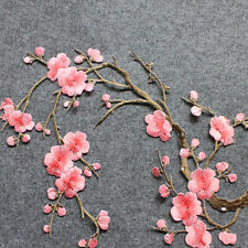 P&T Embroidered Plum Blossom Flower Patch Iron/Sew on Applique Motif Craft