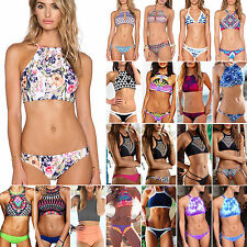 Hot Womens High Neck Bikini Set Ladies Push-Up Padded Swimwear Bathing Swimsuit