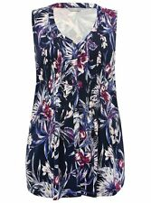 New M&Co Navy Floral Print Jersey Tunic Top Sleeveless Blouse RRP£26 Sizes 18-28