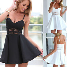 Sexy Women Sleeveless Strappy Summer Evening Cocktail Party Club Lace Mini Dress