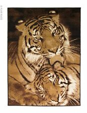 Modern Wildlife Tigers Print Brown Beige Rug in Various sizes Carpet