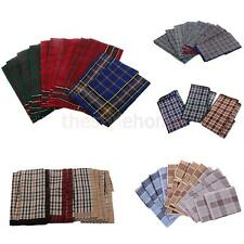12x Mens Handkerchief Hankie Cotton Plaid Pocket Square Wedding Hanky Kerchiefs