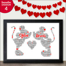 Disney Valentines Gifts - Personalised Mickey Minnie Mouse Word Art Disney Gift