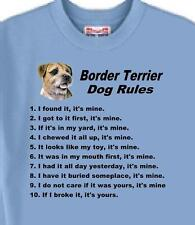Dog T Shirt Border Terrier Dog Rules 5 Colors Great Gift # 964 Adopt Rescue