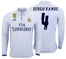 ADIDAS SERGIO RAMOS REAL MADRID LONG SLEEVE HOME JERSEY 2016/17 CWC FIFA PATCH.