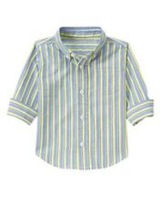 GYMBOREE EGG HUNT BLUE & YELLOW STRIPED WOVEN EASTER SHIRT 5T NWT