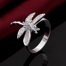 Jewelry White Dragonfly Silver Plated Crystal Ring