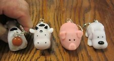 36 NEW NAUGHTY FARM ANIMALS POOPING KEYCHAIN DOG PIG COW SQUEEZE POOP KEY RING