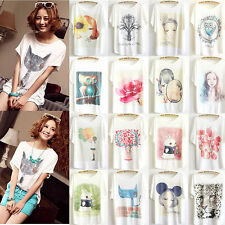 Womens Short Sleeve Loose Casual T Shirts Girls Batwing Tops Blouse White Tee