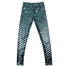 Sexy Women Slim Fish Scale Mermaid Print Stretch Skinny Legging Trousers Pants