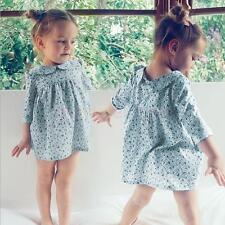 Kids Baby Peter Pan Collar 3/4 Sleeve Floral Dress Girls Flower Pattern Dress