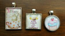 Tea party cupcakes themed cameo necklaces
