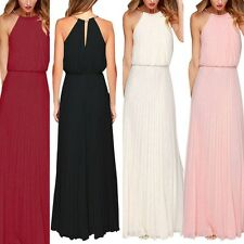 Sexy Women Sleeveless Chiffon Formal Gown Boho Maxi Evening Party Long Dress