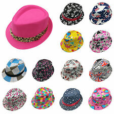 R New Toddler Kid Baby Fedora Hat Jazz Cap Photography Cotton Trilby Top Cap