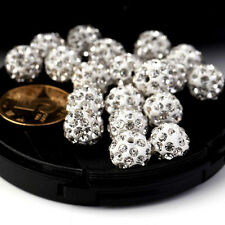 10/20Pcs Fashion Crystal Rhinestones Pave Clay Round Disco Ball Spacer Beads CW