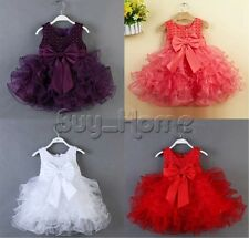 Baby Girls Christening Wedding Bridesmaid Formal Party Tulle Tutu Pageant Dress