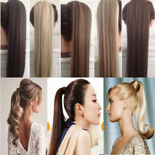 Long Ponytail Tie Up Hair Extension Straight Curly Pony Tail Natural Hairpiece