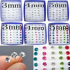 Pin Colorful Crystal Clear Silver Rhinestone Ear Studs Crystal Earrings