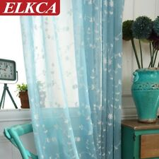 Blue Embroidered Voile Curtains for Living Room Bedroom Tulle Curtains for Kitch