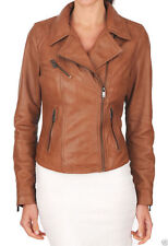 Women's Tan Brown Genuine Lambskin Leather Motorcycle Slim fit Biker Jacket