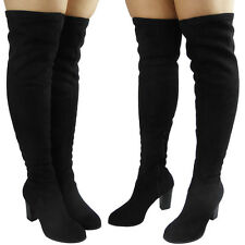 WOMENS LADIES THIGH HIGH OVER THE KNEE PARTY FAUX SUEDE HEELED BOOTS SHOES SIZE