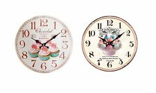 Large Vintage Wooden Wall Clock Shabby Chic Home Kitchen Cake Plate / Cup Cakes