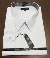 New BRUNO CAPELO Mens Dress Shirt Long Sleeves Cotton Blend WHITE BCDS-100