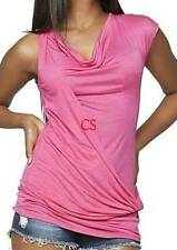 NWT-Womens Nicki Minaj Pink Twist Front Cap Sleeve Top Shirt-size XS & M