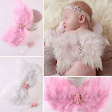 Baby Feather Photograph Props Outfits Flowers Angel Wings + Headband Set