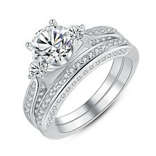Womens 3 Stone Round Cut CZ Sterling Silver Wedding Engagement Rings Size 5 -10