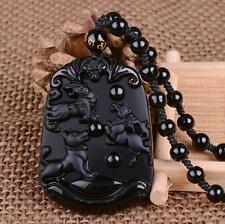 Natural Obsidian Black Jade Pendant Chinese Zodiac Twelve Animals Necklace A66