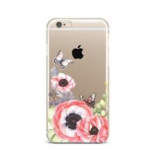 Papaver Floral Flower Butterfly Silicone Rubber Gel Case For IPhone 4S 5S 6S 7+