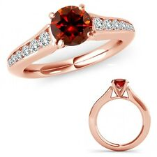 1.75 Ct Red Diamond Solitaire Wedding Anniversary Ladies Ring 14K Rose Gold