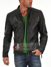 New Leather Jacket Coat Mens Motorcycle Biker Style Genuine Lambskin
