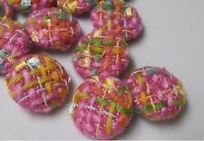 1 Dozen Vintage Bright Pink, Blue, Green & Yellow Bouclé Fabric Sewing Buttons