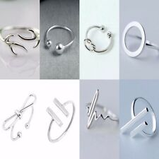 Simple 925 Sterling Silver Adjustable Rings | Minimalist Plated Womens Band NEW