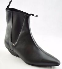 Steel Ground Black Leather Beat Boots Chelsea Cuban Heel Ankle Boot Sb033Z92