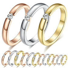 R Simple Titanium Steel Ring Crystal Rhinestone Women Fashion Wedding Ring New