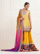 Pakistani Indian Dress Zainab Chottani Embroided Chiffon YELLOW KNEE-LENGTH.