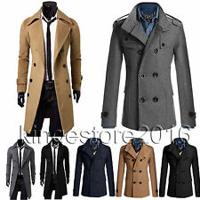 Mens Slim Trench Coat Winter Long Wool Jacket Double Breasted Parka Outwear Top