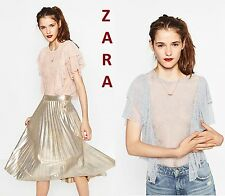 ZARA Frilled Lace Crop Top Short Sleeves Pink Gray Sheer New Blouse Sizes: S M L