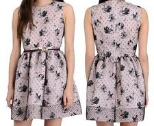 AUTH RED Valentino Tulle Overlay Swan Print Dress